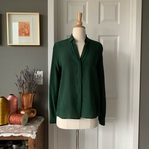 & Other Stories forest green silk blouse 1596